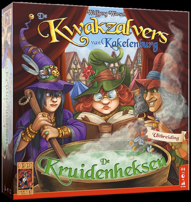 Boxart van De Kwakzalvers van Kakelenburg Uitbreiding: De Kruidenheksen (Bordspellen), 999 Games
